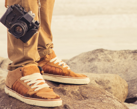 Feet Man And Vintage Retro Photo Camera Outdoor Travel Lifestyle